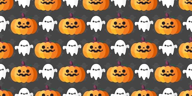 Halloween calabaza y fantasma de patrones sin fisuras,.