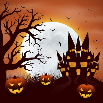 Halloween con calabazas y castel sobre rojo.