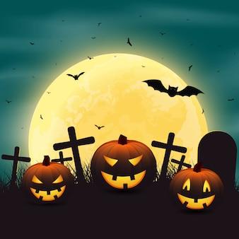 Halloween con calabazas en el cementerio, y un brigh