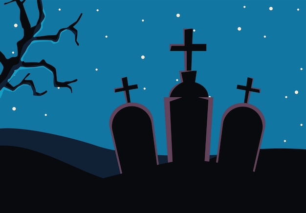 Halloween cementerio tumbas escena del cementerio