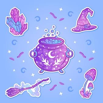 Halloween para colorear brujería set pegatinas