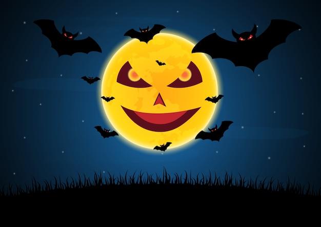 Halloween diablo luna murciélago vector