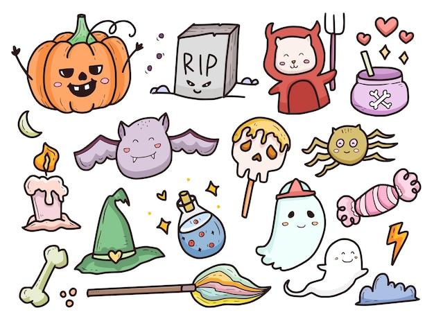Halloween doodle colección de dibujos animados fantasma y monstruo