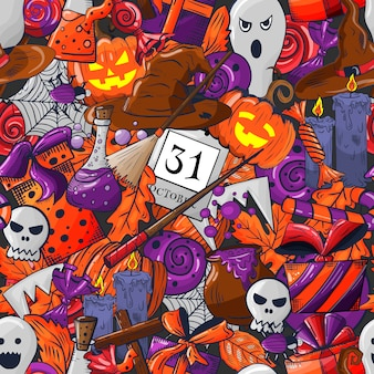 Halloween doodle de patrones sin fisuras.