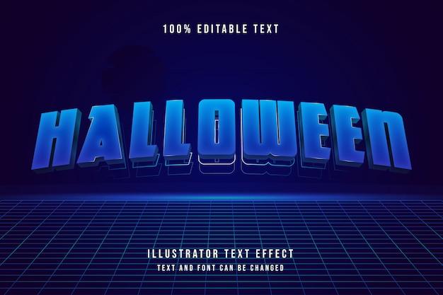 Halloween, efecto de texto editable 3d gradación azul estilo moderno sombra