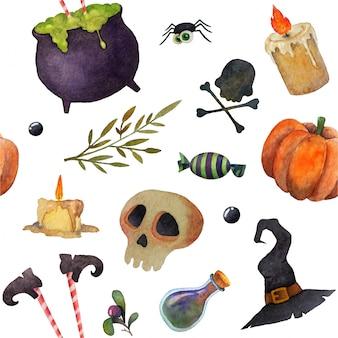 Halloween elementos de miedo acuarela sin fisuras patrón