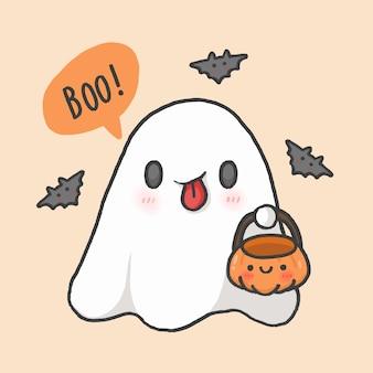 Halloween estilo de dibujado a mano de dibujos animados lindo fantasma