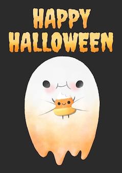 Halloween, fantasma acuarela comiendo maíz dulce.