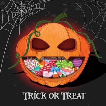 Halloween con fondo de calabaza y caramelo