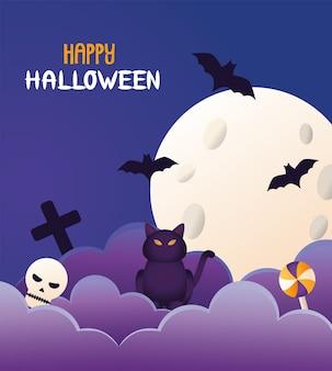 Halloween gato negro y letras con luna y murciélagos volando escena