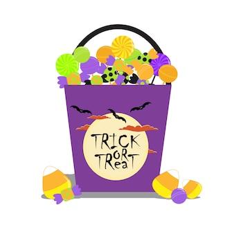 Halloween ilustración con halloween candies cubo adecuado para la tarjeta de halloween