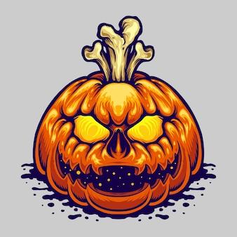 Halloween jack o lantern bones ilustraciones vectoriales para su trabajo logotipo, camiseta de mercancía de la mascota, diseños de pegatinas y etiquetas, carteles, tarjetas de felicitación, publicidad de empresas comerciales o marcas. Vector Premium