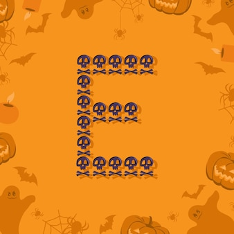 Halloween letra e de calaveras y tibias cruzadas para diseño fuente festiva para vacaciones y fiesta en orangután ...