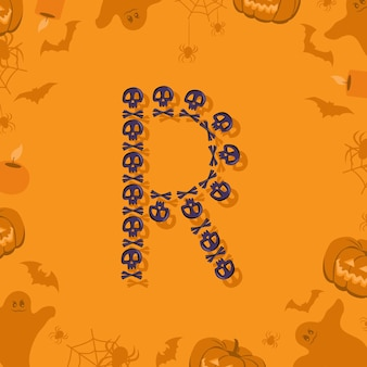 Halloween letra r de calaveras y tibias cruzadas para diseño fuente festiva para vacaciones y fiesta en orang ...