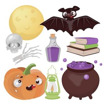Halloween magic dibujado a mano diseño plano dibujos animados clip art wonderland horror