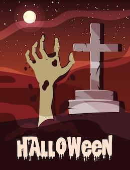 Halloween con mano de zombie y piedra de cruz