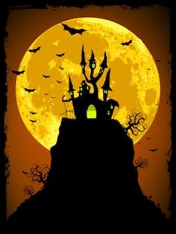 Halloween de miedo con abadía mágica. archivo vectorial incluido
