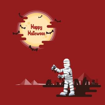 Halloween, momia caminando por la noche en un desierto con ataúdes y pirámides bajo la luna llena