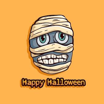 Halloween momia de egipto con expresión divertida sobre fondo naranja