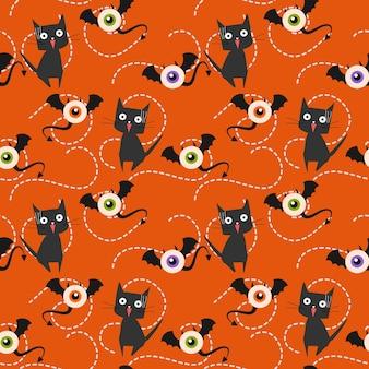 Halloween monstruo y gato de patrones sin fisuras.