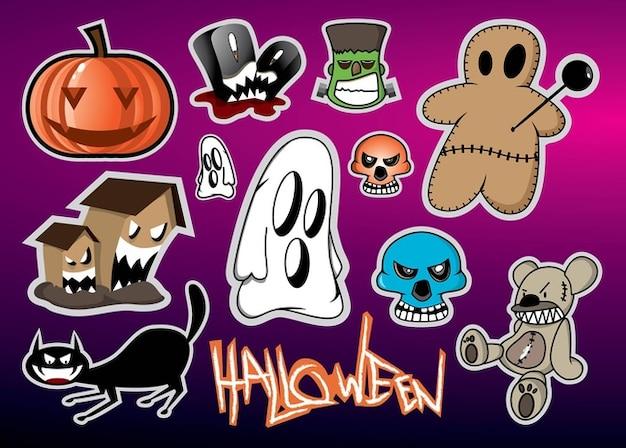 Halloween, monstruos de dibujos animados