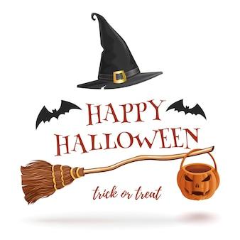 Halloween con murciélagos, escoba de bruja y sombrero.
