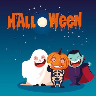 Halloween con niños disfrazados