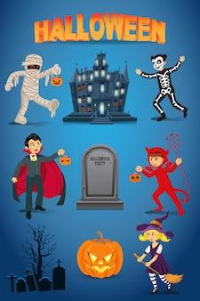 Halloween con niños vestidos con disfraces de halloween, casa embrujada, calabaza y lápida sobre fondo azul.