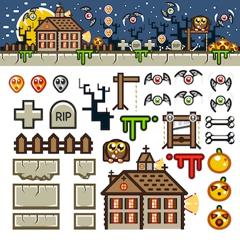 Halloween en la noche kit de nivel de juego plano