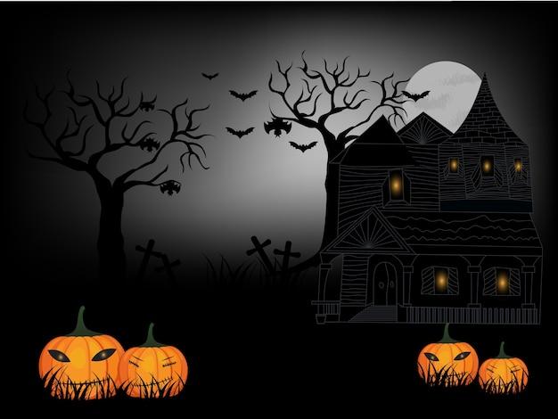 Halloween y oscuro castillo en negro luna de fondo, ilustración.