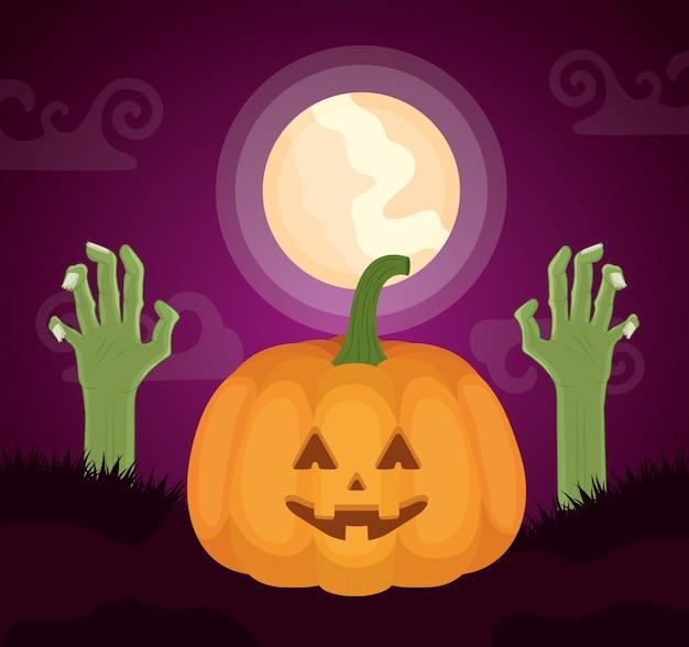 Halloween oscuro con manos de calabaza y zombie