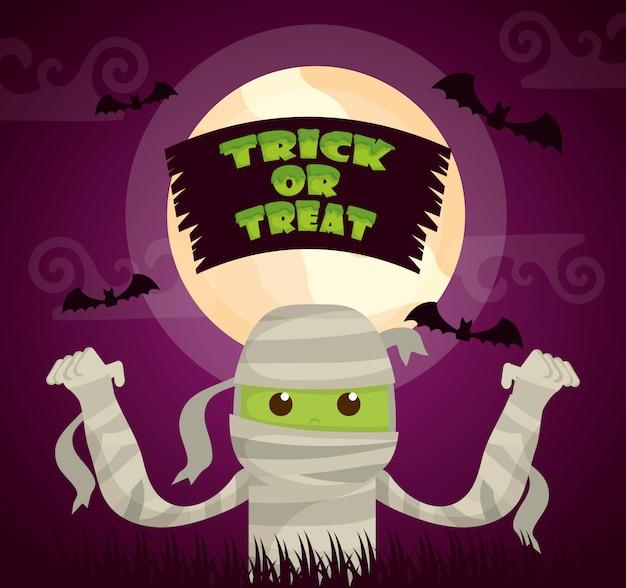 Halloween oscuro con personaje de momia