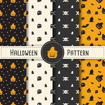 Halloween pattern set de fondo para la noche de halloween. patrón sin fisuras víspera de todos los santos vector para el día de fiesta con la araña y la tela para la bandera, el cartel, la tarjeta de felicitación, la ilustración de la invitación del partido.