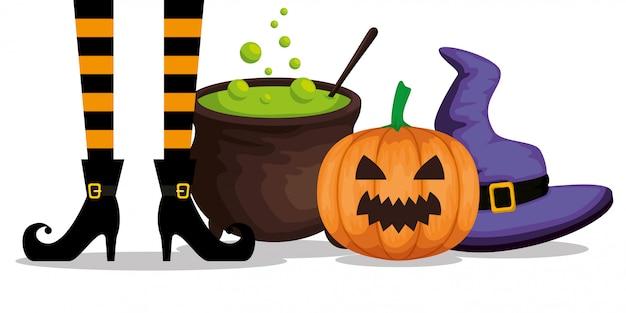 Halloween con pies de bruja y caldero
