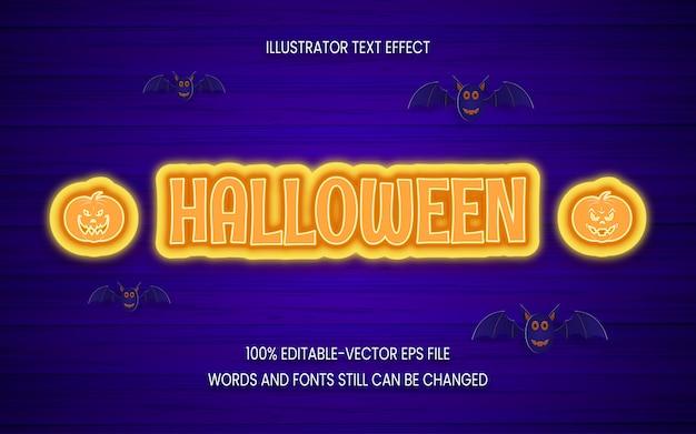 Halloween, plantilla de efecto de texto editable.