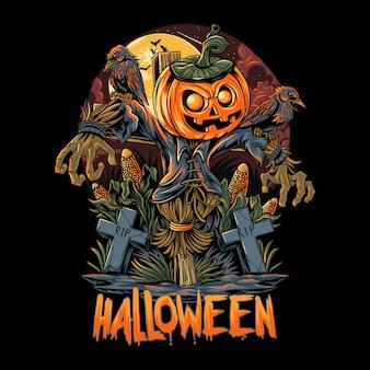 Halloween scarecrow y las ilustraciones de las calabazas