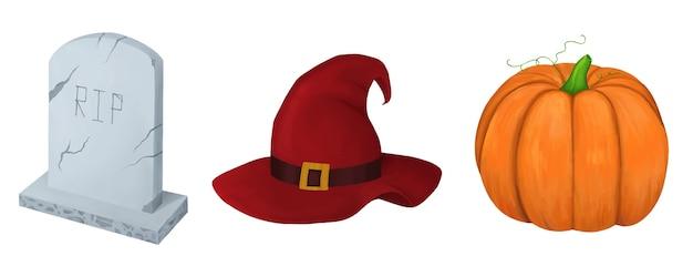 Halloween set lápida bruja sombrero calabaza