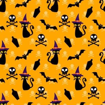Halloween símbolo de patrones sin fisuras.