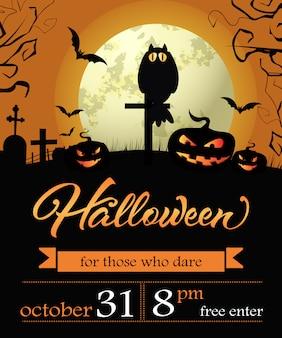 Halloween, treinta y uno de octubre. primera rotulación con calabazas y luna.
