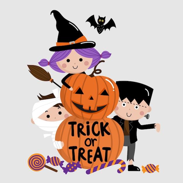 Halloween, truco o trato, niños y calabaza
