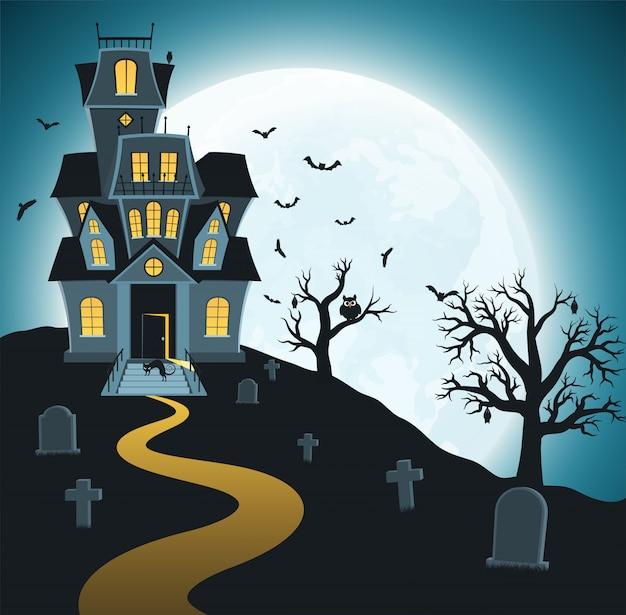 Halloween con tumbas, arboles, murciélagos.