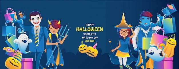 Halloween a la venta. banner de feliz halloween.