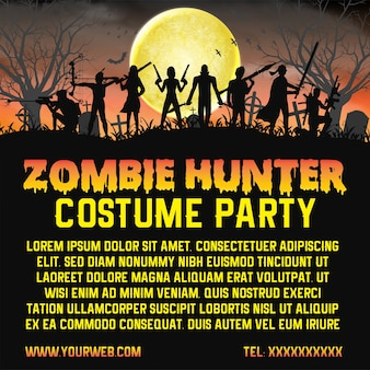 Halloween zombie hunter costume party promociona póster