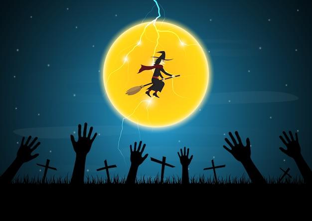 Halloween zombie mano cruz luna bruja trueno vector