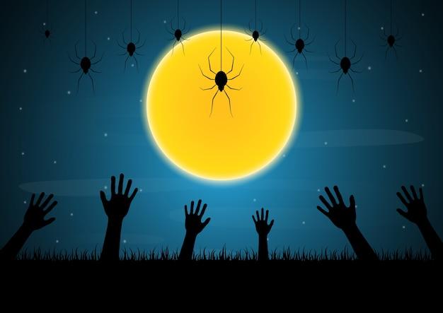 Halloween zombie mano luna araña vector