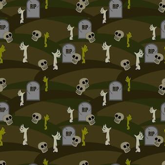 Halloween zombie seamless pattern