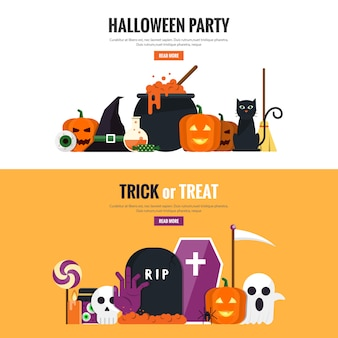 Hallowen flat design banners 2