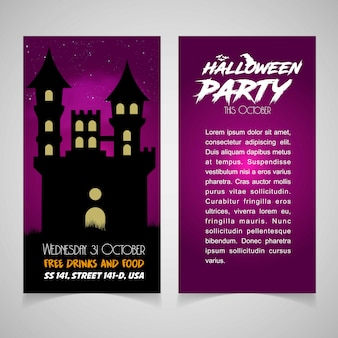 Hallowen party vector de diseño de folleto