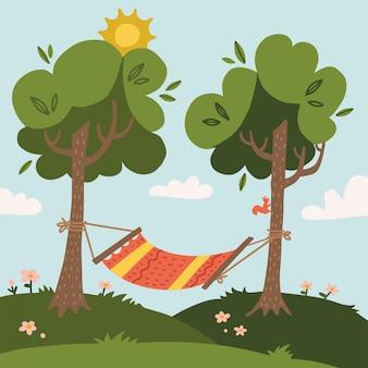 Hamaca de verano con árboles en el bosque o jardín, hierba, sol y nubes. ilustración plana