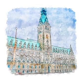 Hamburgo alemania acuarela dibujo dibujado a mano ilustración